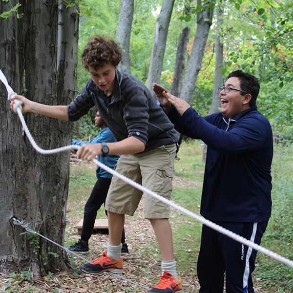 Students in outdoor obstacle course