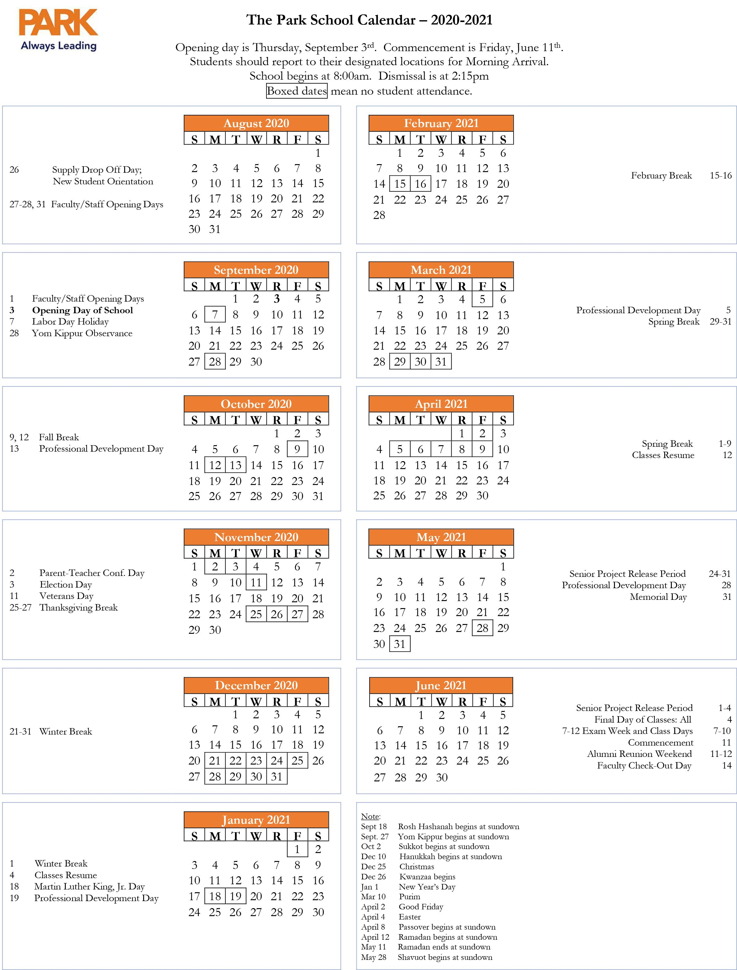 Images of 2021 Calendar Overview